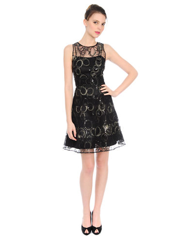 KAY UNGER Sequined Lace Fit and Flare Dress