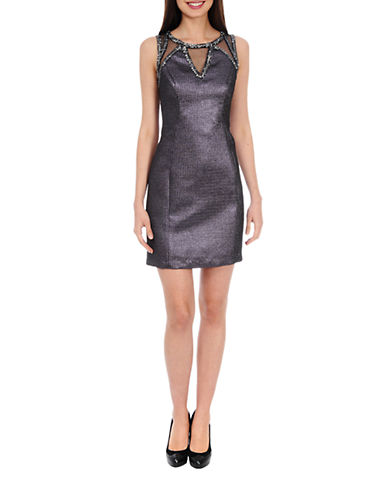 Shop Phoebe Couture online and buy Phoebe Couture Beaded Metallic Jacquard Sheath Dress dress online