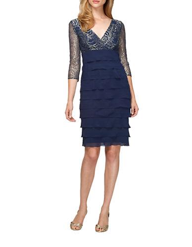 Shop Alex Evenings online and buy Alex Evenings Printed Tiered Sheath Dress dress online