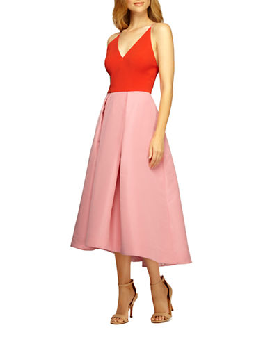 Shop Phoebe online and buy Phoebe Colorblock Pleated A-Line Dress dress online