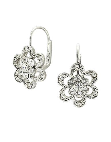 BETSEY JOHNSONSilvertone Crystal Pavé Flower Earrings