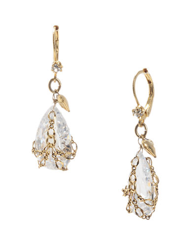 BETSEY JOHNSON Gold and Crystal Drop Earrings