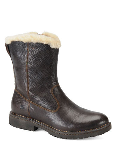 BORN SHOE Theodore Leather and Shearling Boots