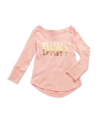 DKNY Girls 2-6x Long Sleeved Logo Tee
