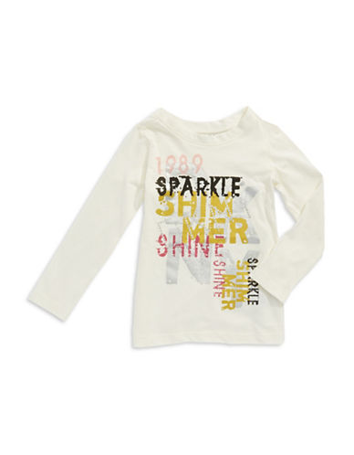 DKNY Girls 7-16 Long Sleeved Sparkle Tee