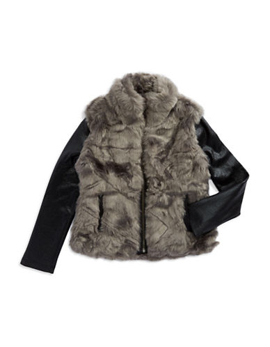DKNY Girls 2-6x Faux Fur Jacket