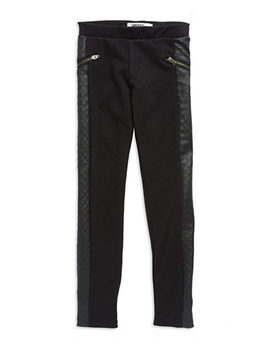DKNYGirls 7-16 Quilted Leatherette Leggings