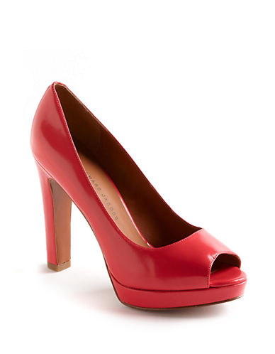 Peep-Toe Patent Leather Platform Pumps