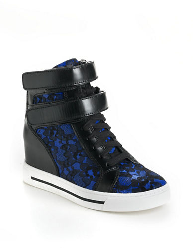 Shop Marc By Marc Jacobs online and buy Marc By Marc Jacobs Lace High-Top Leather Wedge Sneakers shoes online