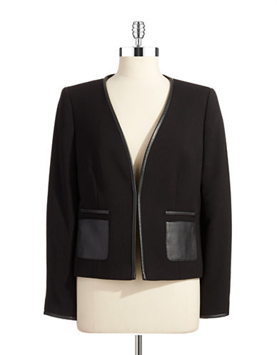 TAHARI ARTHUR S. LEVINE Faux Leather Accented Jacket