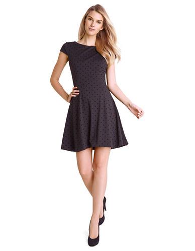 TAHARI ARTHUR S. LEVINEPetite Velvet Polka Dot A Line Dress