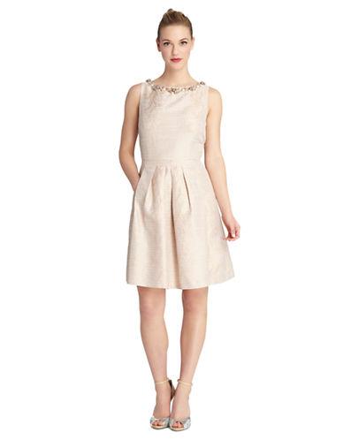 TAHARILester Textured Stripe Necklace Dress