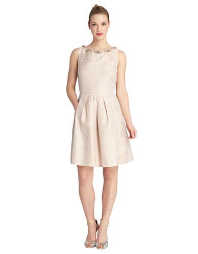Tahari Arthur S. Levine Petite Jacquard Stripe Necklace Dress