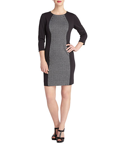 TAHARI ARTHUR S. LEVINE Charlie Leather Piped Colorblock Sheath Dress