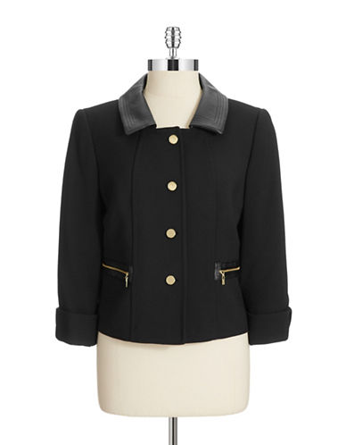 TAHARI ARTHUR S. LEVINEFour Button Jacket With Faux Leather Collar