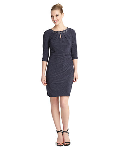 Shop Tahari Arthur S. Levine online and buy Tahari Arthur S. Levine Embellished Jersey Sheath Dress dress online