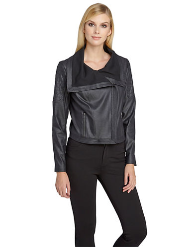 CATHERINE CATHERINE MALANDRINO Faux Leather Moto Jacket
