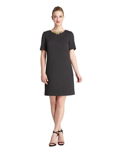 TAHARI ARTHUR S. LEVINEAlvin Embellished Collar Herringbone Shift Dress