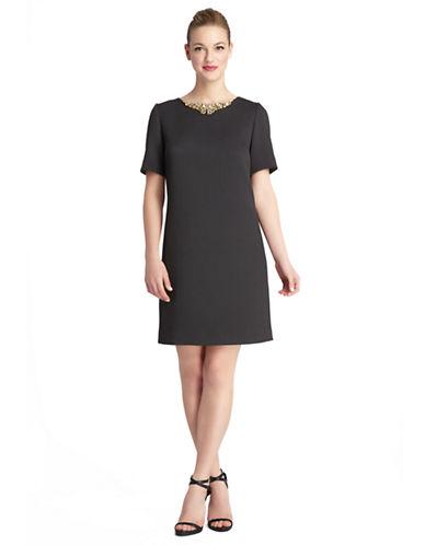 TAHARI ARTHUR S. LEVINEPlus Albert Beaded Collar Jacquard Shift Dress