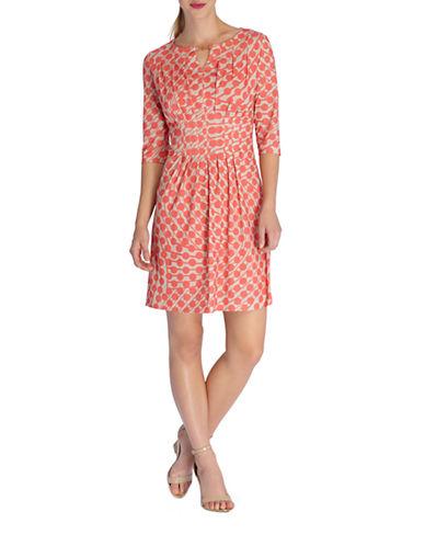 Shop Tahari Arthur S. Levine online and buy Tahari Arthur S. Levine Petite Swirled Dot Print Pleated Dress dress online