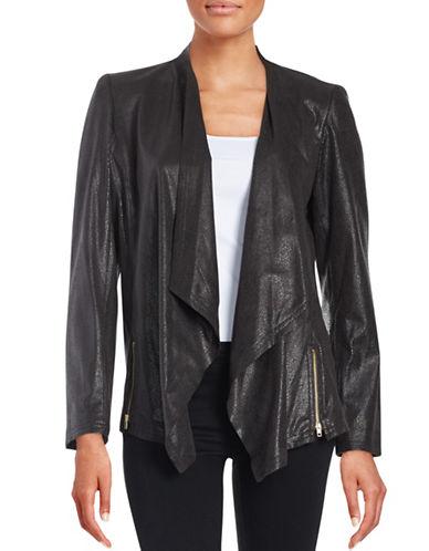 TAHARI ARTHUR S. LEVINEFaux Leather Flyaway Coat