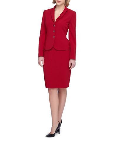 tahari arthur s levine female 250960 shawl bow collar threebutton jacket skirt suit