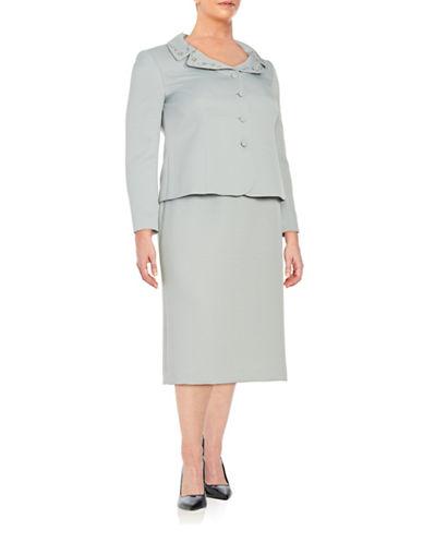 tahari arthur s levine female 134479 plus embellished twopiece skirt suit set