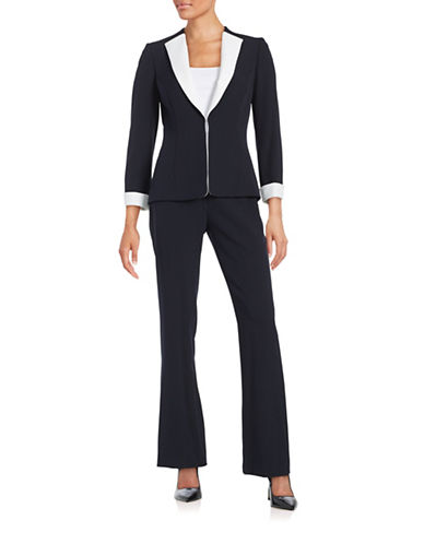 tahari arthur s levine female 266946 contrast crepe suit