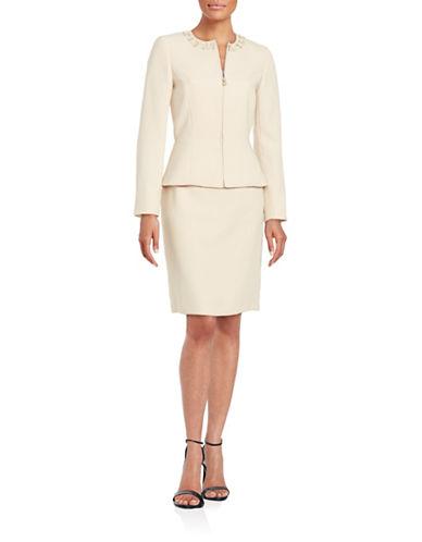 tahari arthur s levine female 45985 petite embellished skirt suit
