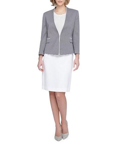 tahari arthur s levine female 266946 plus piped frame striped jacket skirt suit