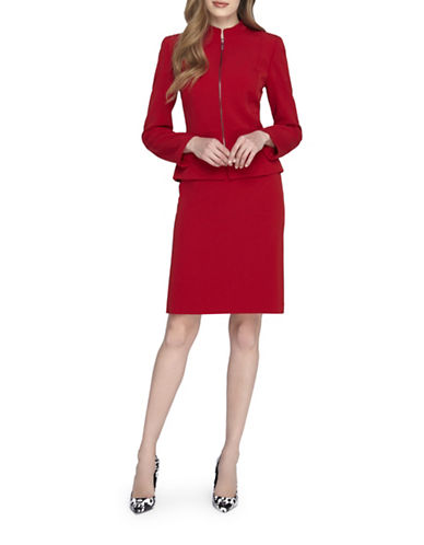 tahari arthur s levine female 250960 plus stand collar zip jacket and skirt suit