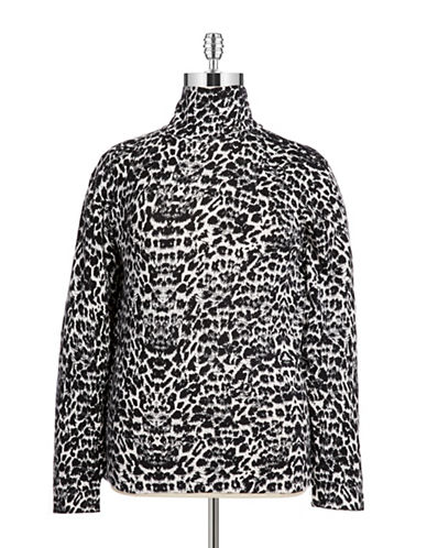 Joseph A Plus Leopard Print Turtleneck