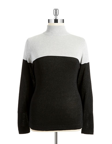 Joseph A Plus Colorblocked Sparkle Pullover
