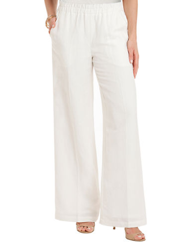 JOAN VASS Relaxed Wide Leg Pants with Splash Pockets