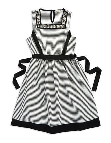 SOPHIA + ZEKEGirls 7-16 Rhinestone Accented Striped Dress