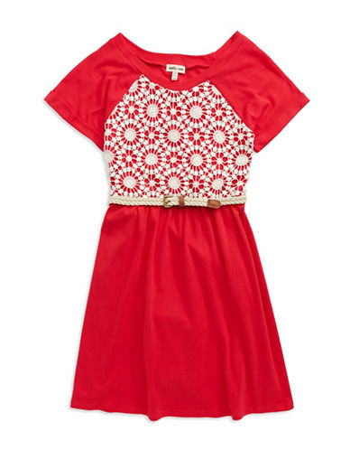 SOPHIA + ZEKE Girls 7-16 Crocheted Accented Fit and Flare Dress