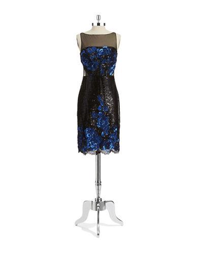 Badgley Mischka Sequin Floral Dress