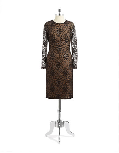 Shop Belle By Badgley Mischka online and buy Belle By Badgley Mischka Textured Overlay Long Sleeved Dress dress online