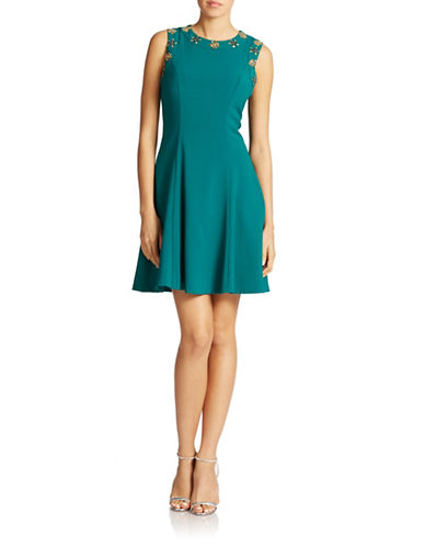 BELLE BY BADGLEY MISCHKABead Accented Fit and Flare Dress