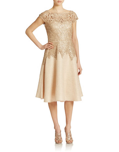 Badgley Mischka Lace Sequin Tweed Circle Cocktail Dress