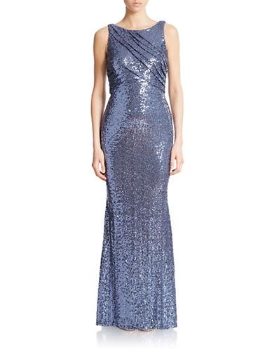 Shop Badgley Mischka online and buy Badgley Mischka Sequined Drape Gown dress online