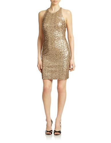 BADGLEY MISCHKASleeveless Sequined Sheath Dress