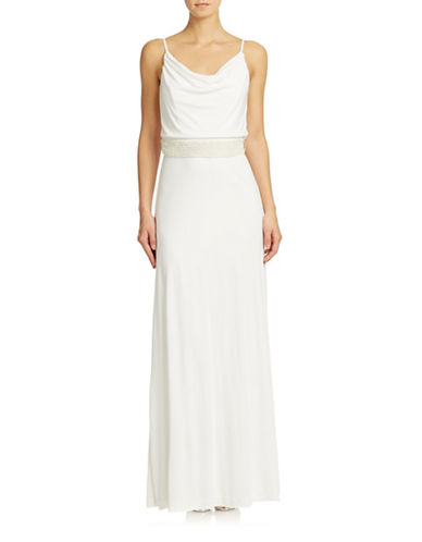 Shop Badgley Mischka online and buy Badgley Mischka Cowl Neck Beaded Waist Gown dress online