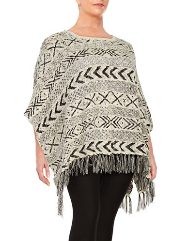 Fringe Tribal-Patterned Poncho Sweater plus size,  plus size fashion plus size appare