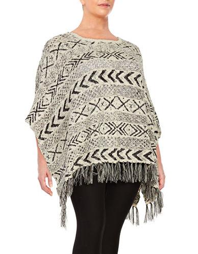bb dakota female 233680 fringe tribalpatterned poncho sweater