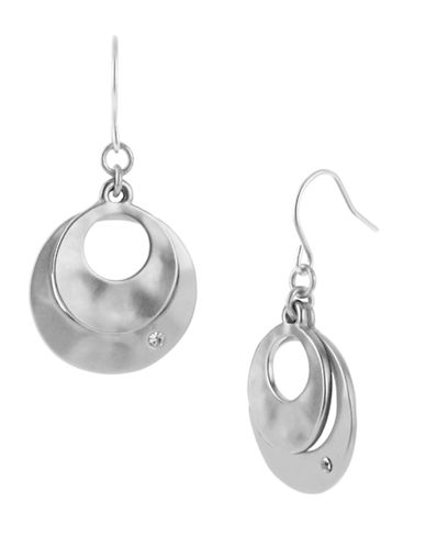 KENNETH COLE NEW YORK Silver-Tone Sculptural Double Drop Earrings