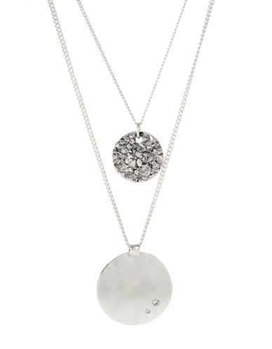 KENNETH COLE NEW YORK Textured Circle and Round Disc Duo Pendant Necklace
