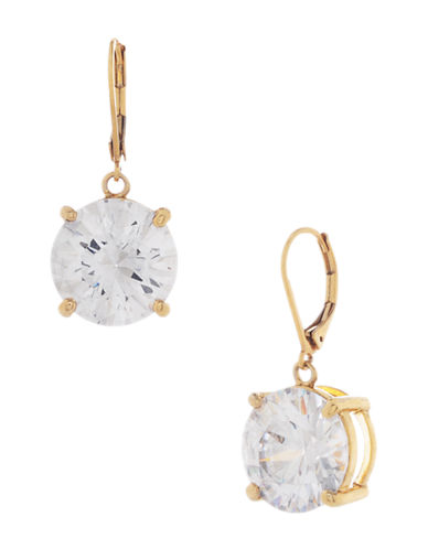 BETSEY JOHNSONGold Tone and Crystal Drop Earrings