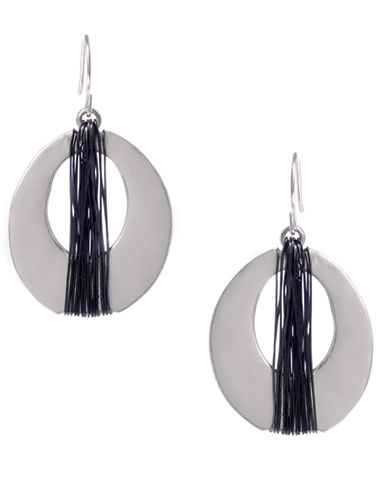 KENNETH COLE NEW YORKSilver-Tone Wire Wrapped Oval Drop Earrings