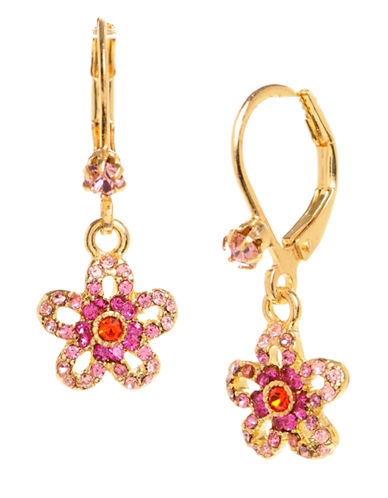 BETSEY JOHNSONCrystal Flower Drop Earrings